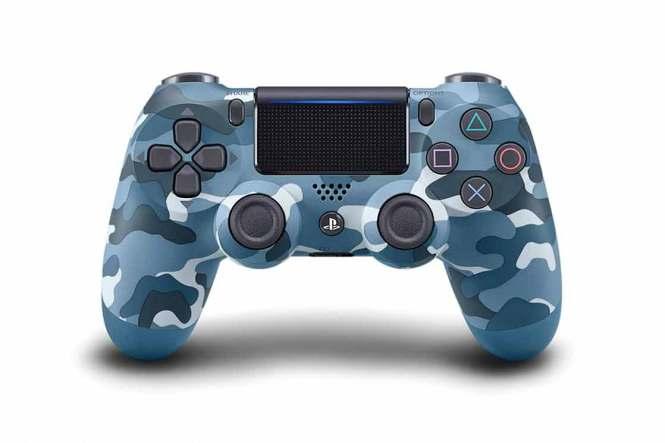 Modrý makovaný gamepad PlayStation 4