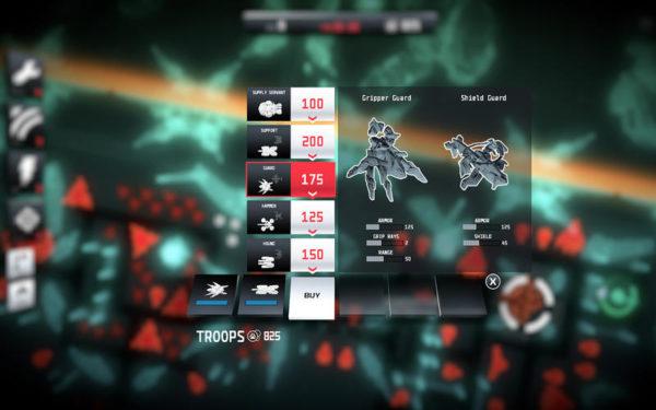 Potremo scegliere tra 5 diversi tipi di unità per il nostro esercito, ognuna con diverse caratteristiche
