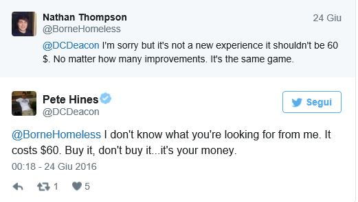 Tweet Pete Hines ( Bethesda)