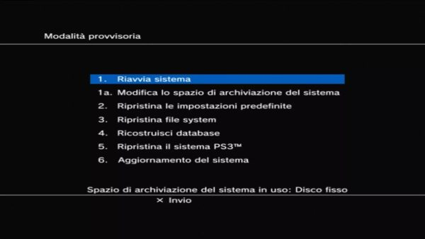 PlayStation 3 Modalità Provvisoria