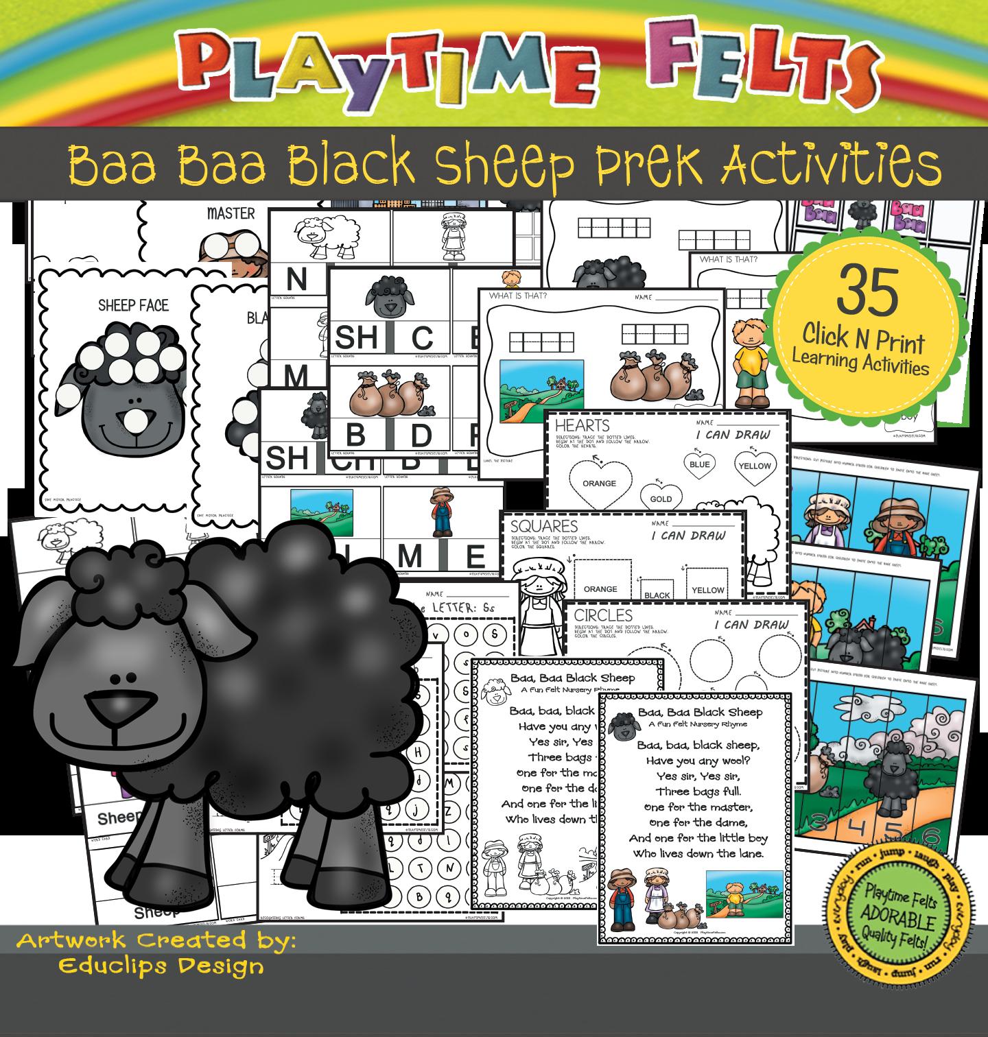 Baa Baa Black Sheep Activity Worksheets For Preschool By