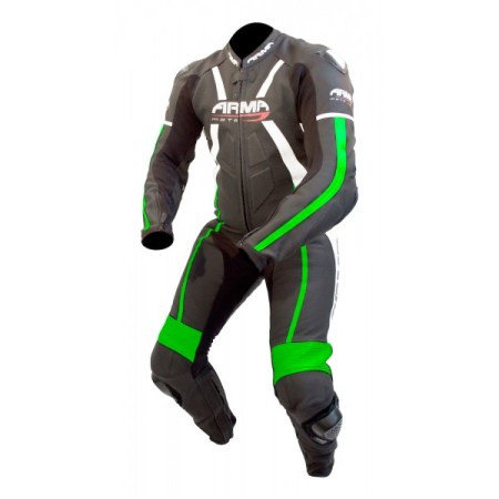 Armr Moto Harada R Leather Motorcycle Suit Black/Green
