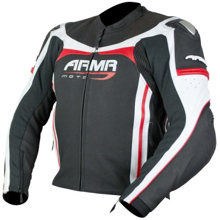 Armr Moto Raiden Leather Motorcycle Jacket Black/Red