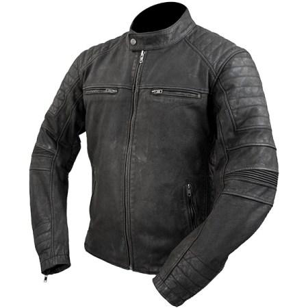 Armr Moto Retoro Leather Motorcycle Jacket Black
