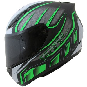 MT Revenge Alpha Motorcycle Helmet Matt Black/Green