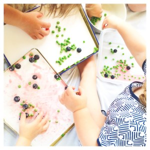 Fruit and vegetable painting with kids