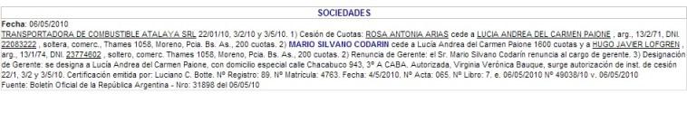"""Constitución societaria de la empresa """"Atalaya"""""""