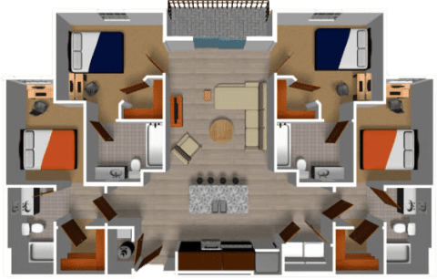 4 Bed / 4 Bath / 1,395 sq ft / Internet, TV, Water, Sewer, & Trash Included / Rent: $1,035-$1,085 Per Person