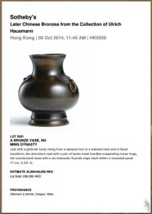 Later Chinese Bronze auction results
