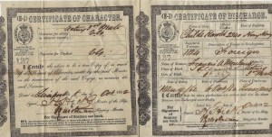 Liverpool discharge certificate for Francis Afred Moreland.