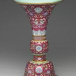 Qianlong rose ground GU form vase