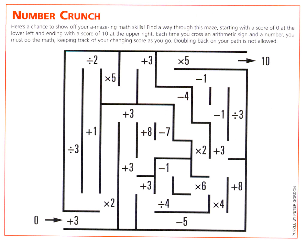 Fun Math Puzzle Worksheet 4th Grade
