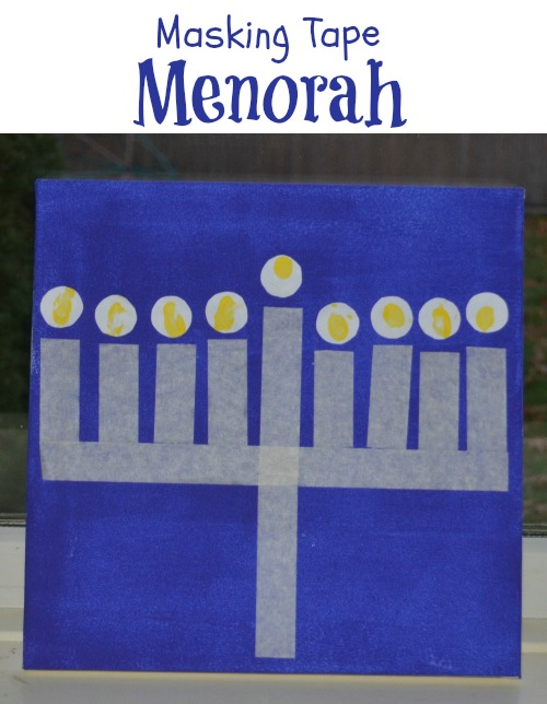 Make your own masking tape menorah with fingerprint lights!