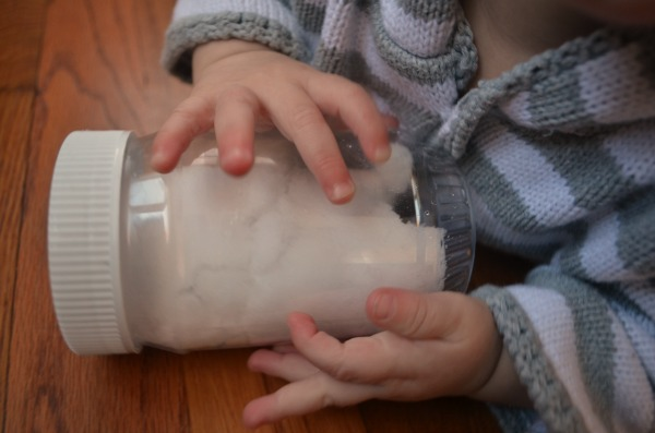 Sensory bottle toddlers and babies will love - plus a fun way to play with snow inside!