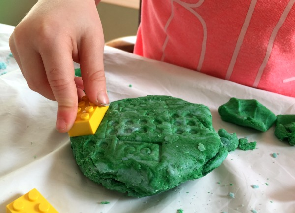 Use LEGO bricks to stamp salt dough paperweights