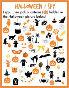 I Spy Halloween printable. Find 10 pumpkins hidden in the Halloween picture! Free printable and FUN!