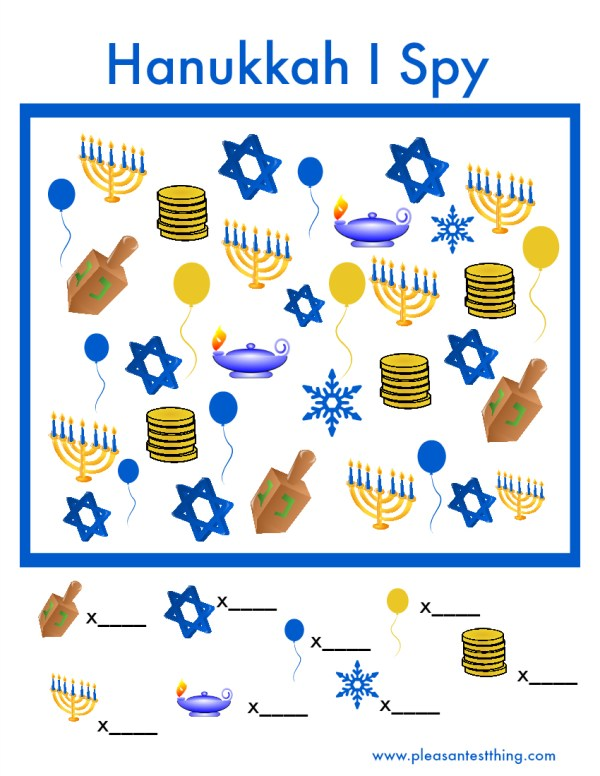 Printable Hanukkah I Spy game