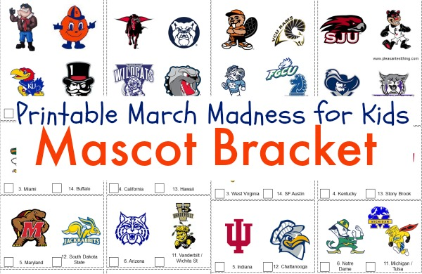 March Madness for kids! Check out this printable mascot bracket for kids!