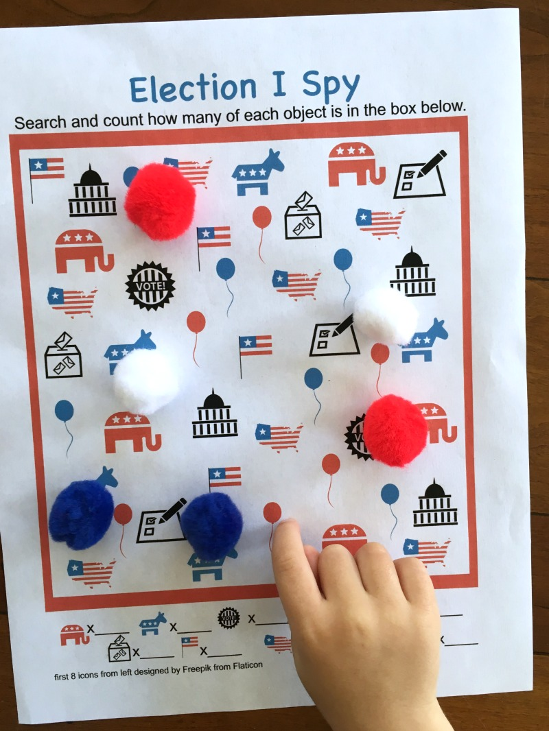Election game for kids - try this free printable I Spy game!