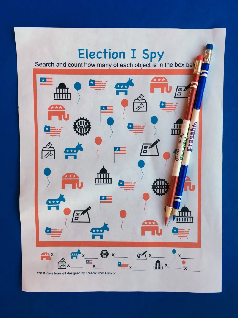 Print and play this Election I Spy game for kids!