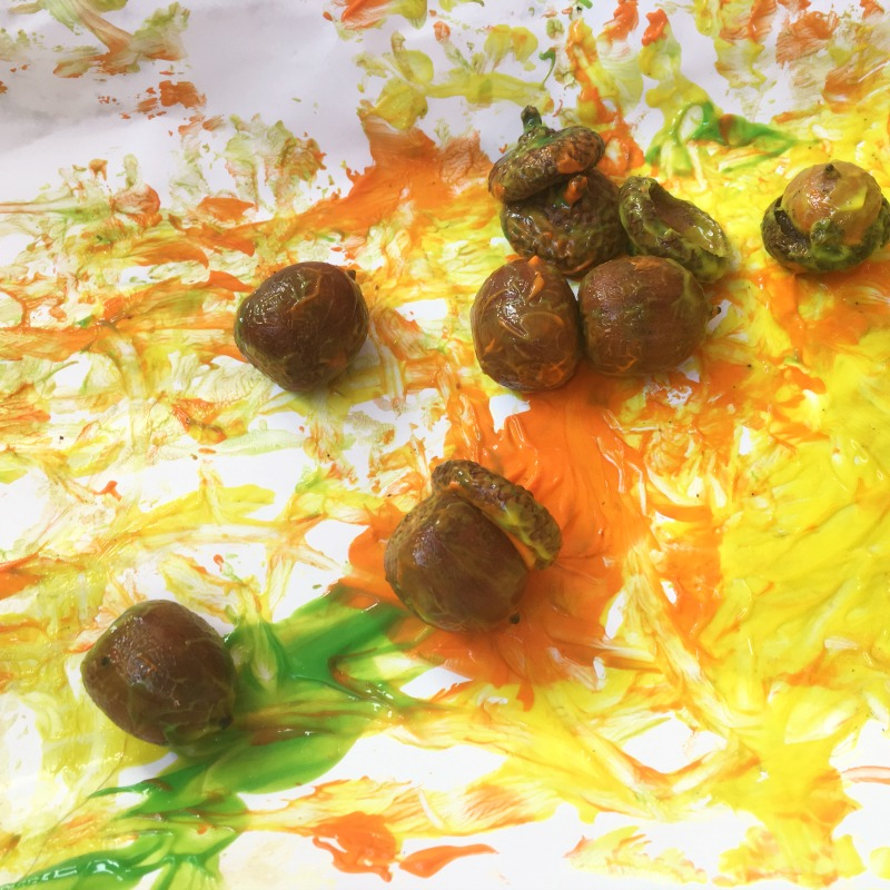 Fall art project for kids - try acorn shake painting!