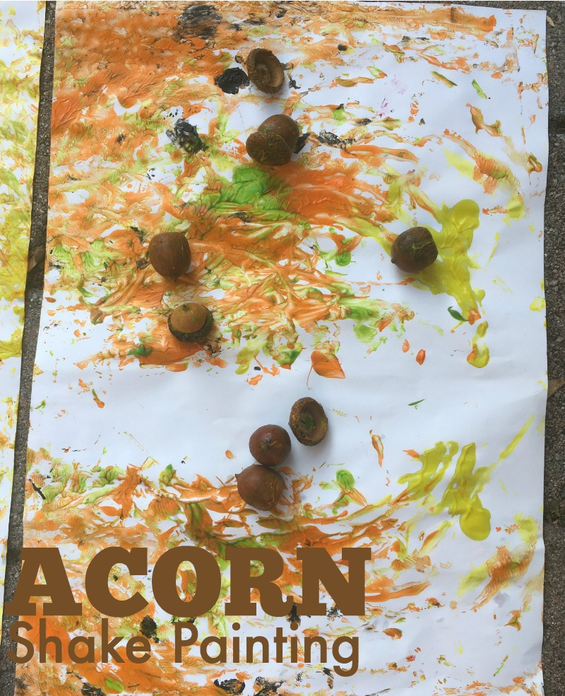 Move and create! Try acorn shake painting - a fall art activity for kids!