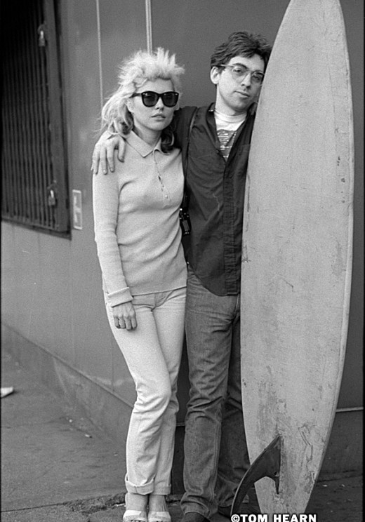 Debbie Harry and Chris Stein 1977 with the surfboard from Punk Magazine's Mutant Monster Beach Party