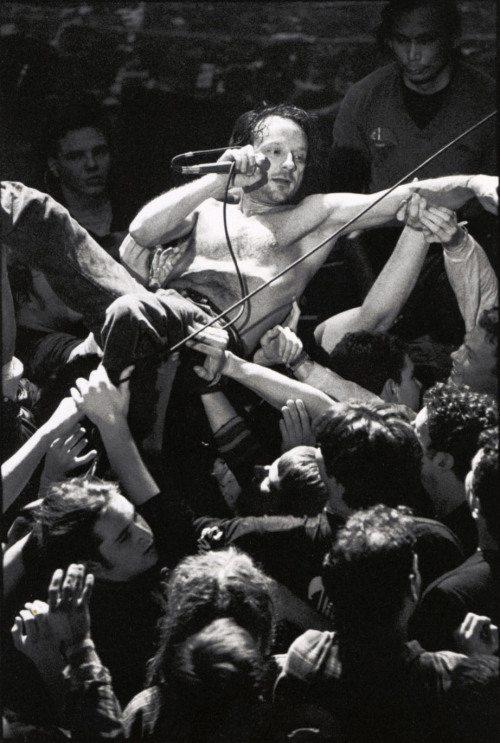 David Yow crowdsurfing during a Jesus Lizard performance. Photo: Matthew Gibson.