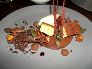 Chocolate-Praline, Malt Sponge Cake, Milk Chocolate Jelly, Cocoa Nib