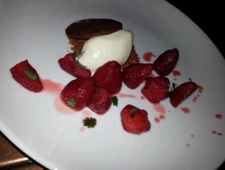 Roasted strawberries, fromage blanc ice cream and graham (2)