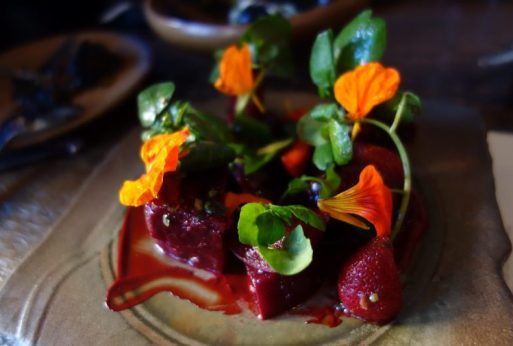 Verbena - Beets and Strawberries, black walnut-beet miso, ginger, cress, ozalis (1)