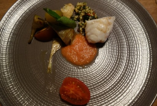 Monkfish souvee, tomato puree and raw, artichokes fried and raw, bulgar wheat with herbs