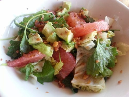 Farm Salad (kale, butter lettuce, grapefruit, avocado, candied macadamia nuts, ginger vinaigrette)