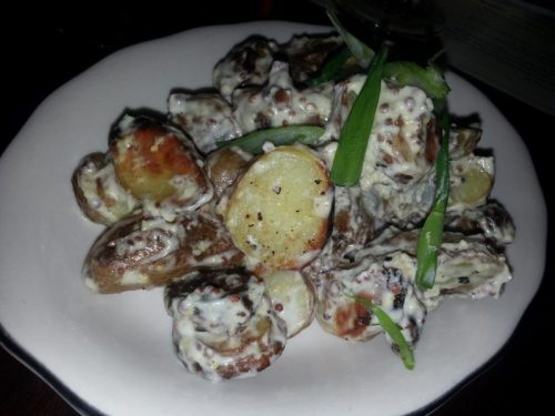 Fingerling Potatoes with Mustard Creme Fraiche