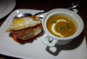 Butternut squash soup, sunflower seed, radish and tofu crema, Mini cornbeef tongue sandwich