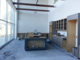 Hilliard Bruce open demonstration kitchen, dining room BEFORE