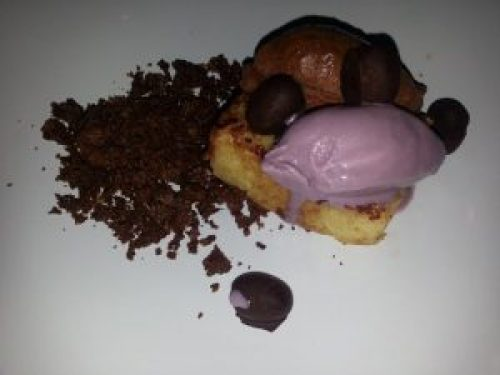 Peanut butter ganache, roasted grape ice cream, griddled pound cake and chocolate feuilletine