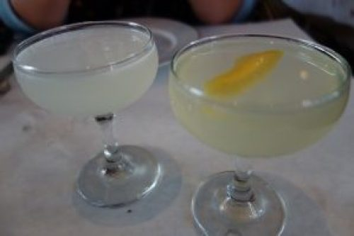 Daiquiri (El Dorado 3 Year, Lime, Sugar) and French 75 (Beefeater, Lemon, Prosecco)