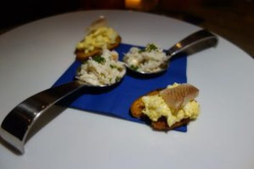 Egg salad with trout and Crab Salad Amuse