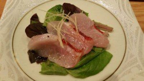 Kinme Calpaccio (Seared Golden Eye Snapper with Truffle Oil)