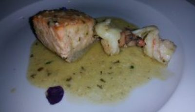 Scottish Wild Caught Salmon with fresh Scampi