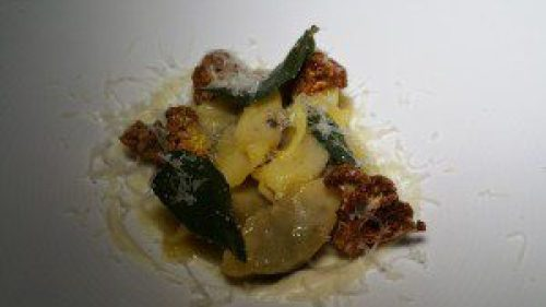 Braised Beef Filled Pasta with roasted cauliflower, sage and sheep's milk cheese