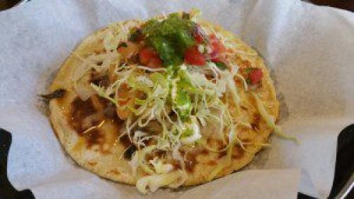 Grobernador Taco (sauteed Mexican white shrimp, jack cheese, cabbage, pico de gallo, lime mayo crema, salsa cruda)
