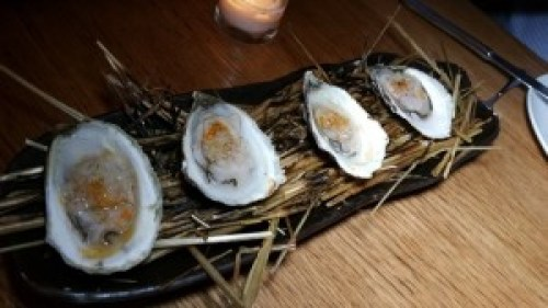 Hay Roasted Oysters with Salsify and Pickled Shallots