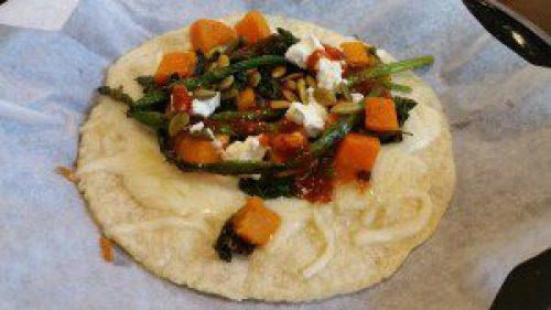 Mercado Taco (butternet squash, kale, asparagus, jack + goat cheese, morita tomatillo slasa)