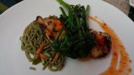 Grilled Thai BBQ Chicken (thai bbq chicken, broccollini, sauteed green tea soba noddle salad)