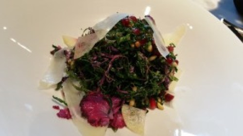 Mixed Kale with watermelon radish, pomegranate, pine nuts, pecorino and anchovy dressing