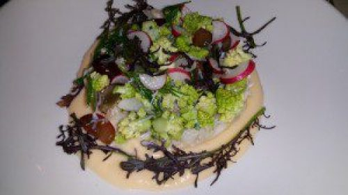 Peekytoe Crab with Romanesco Cauliflower, Red Crapes, Rutabaga Vichy