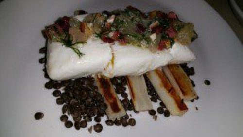 Poached Halibut, Salsify, Black Lentils, Almonds, Olive, Lemon