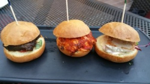 HooDoo Sliders (Stone Ale Braised Short Rib, Lobster Roll Desert Style, Ahi Tuna with Tequila Lime Aioli)